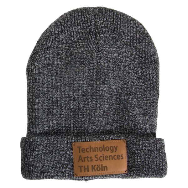 Beanie, heather grey, label