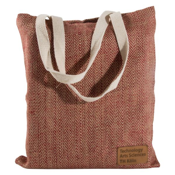 Jute Bag, label, natural/red