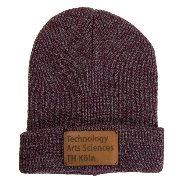 Beanie, heather burgundy, label