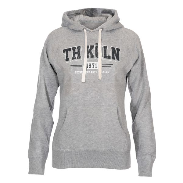 Damen Deluxe Hooded Sweatshirt, heather grey, wisconsin